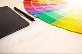Copy space graphic design concept, color palette and drawing board