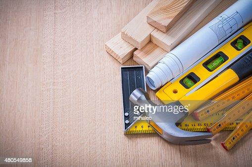Copy space image of big construction set on wooden board : Stock Photo