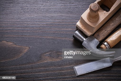 Copy space image of carpenter's tools on vintage wooden : Stock Photo