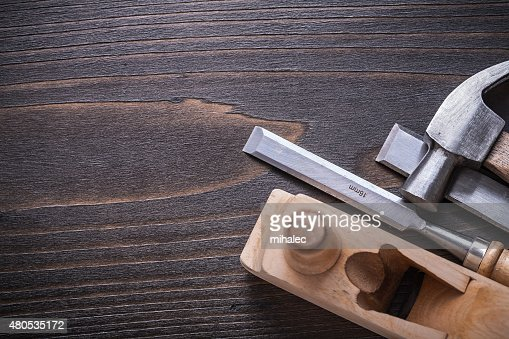 Copy space image of claw hammer planer and firmer chisels : Stock Photo