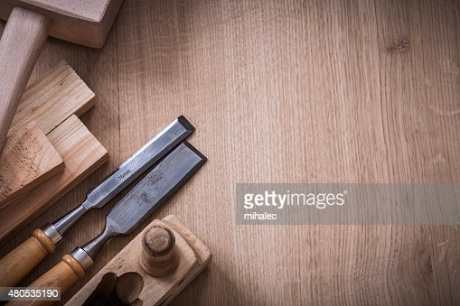 Copy space image of lump hammer planer metal firmer chisels : Stock Photo