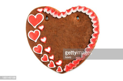 Copy space love heart valentines day gingerbread cookie