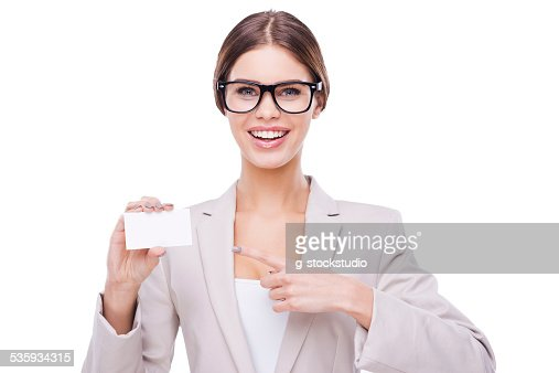 Copy space on her card. : Stock Photo