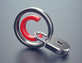 Copyright protection concept. Red copyright symbol with silver padlock