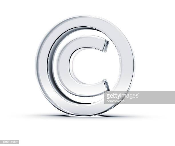 A copyright symbol in 3D on a white background