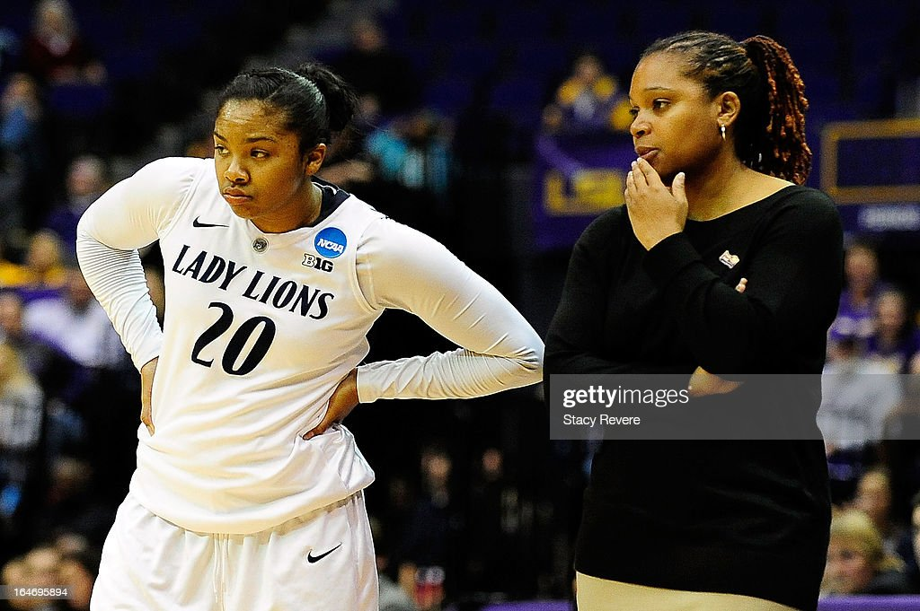 Coquese Washington, head coach of the Penn State Lady Lions, talks with Alex Bentley #20 during the second round of the NCAA Tournament against the LSU Tigers at the Pete Maravich Assembly Center on March 26, 2013 in Baton Rouge, Louisiana. LSU won the game 71-66.
