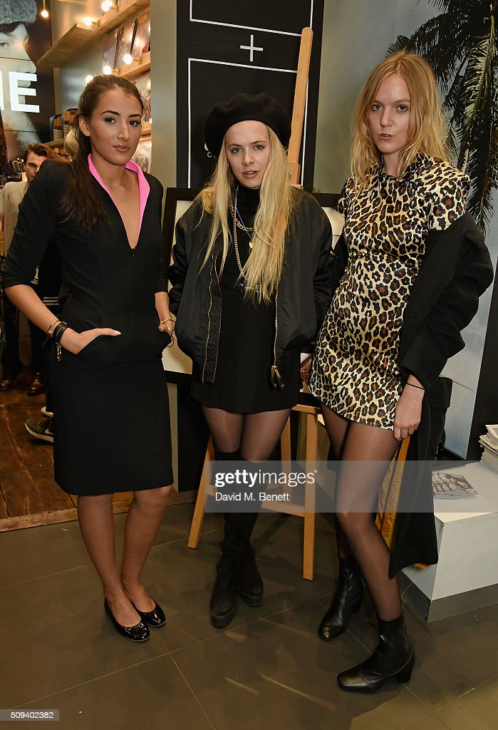 Cora Corré, Jessica Horwell and a guest attend the Gap Partnership with Lion Coffee + Records Launch Party at Gap Flagship Store, Oxford Street on February 10, 2016 in London, England.