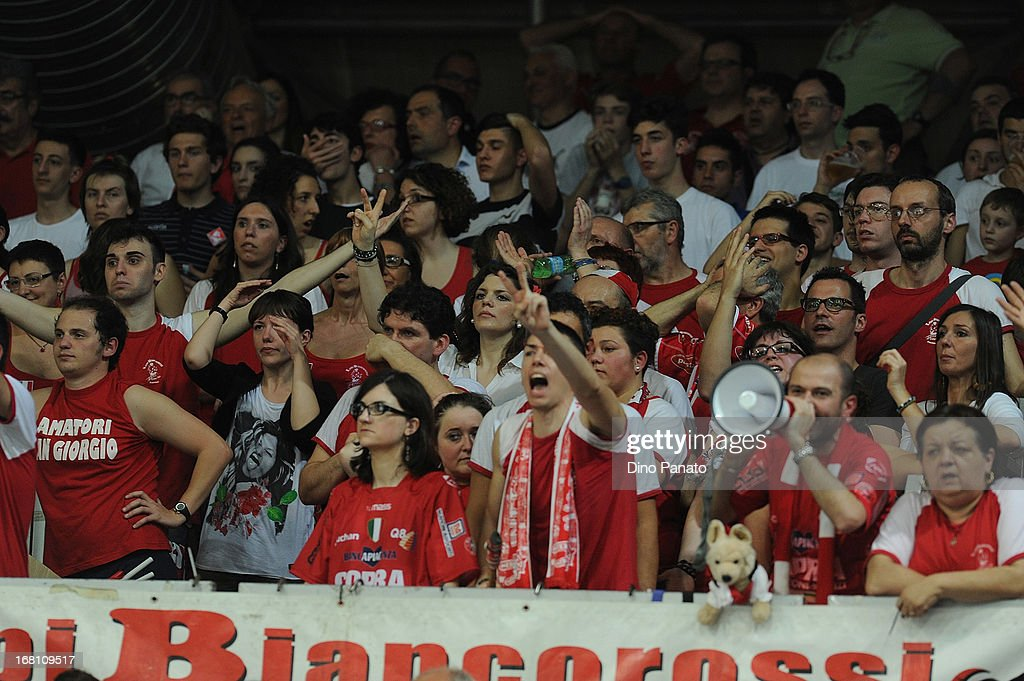 Cora Elior Piacenza fans show their support during game 4 of Playoffs Finals between Copra Elior Piacenza and Itas Diatec Trentino at Palabanca on May 5, 2013 in Piacenza, Italy.