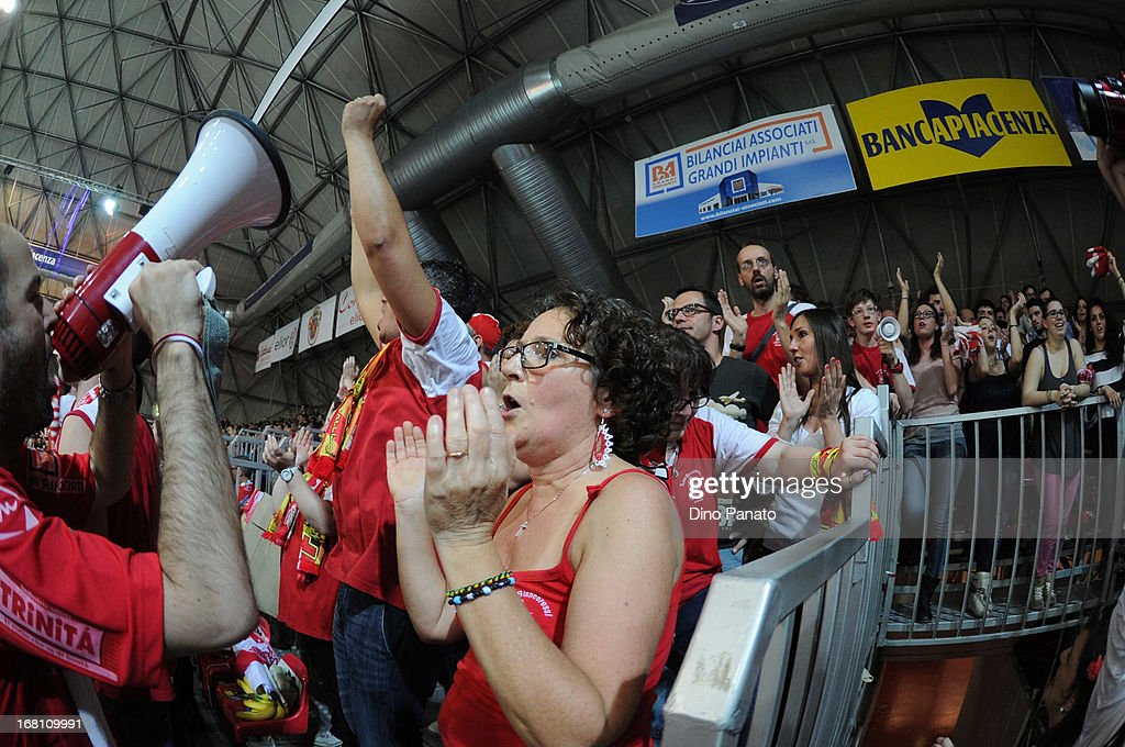 Cora Elior Piacenza fans show their support during game 4 of Playoffs Finals between Copra Elior Piacenza and Itas Diatec Trento at Palabanca on May 5, 2013 in Piacenza, Italy.