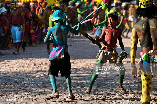 Cora Indian boys fight wooden sword duel during the religious ritual ceremony of Semana Santa in Jesús María Nayarit Mexico 23 April 2011 The annual...