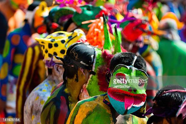 Cora Indians wearing colorful demon masks run during the sacred ritual ceremony of Semana Santa in Jesús María Nayarit Mexico 22 April 2011 The...