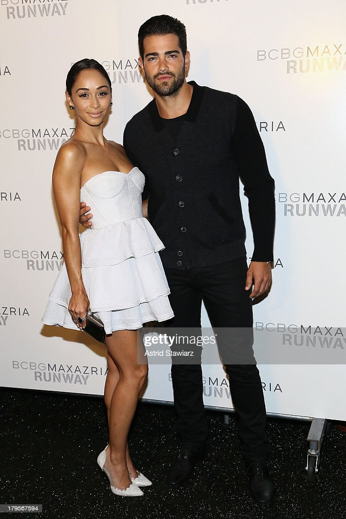 Cora Santana and Jesse Metcalfe pose backstage at the BCBGMAXAZRIA Spring 2014 fashion show during Mercedes-Benz Fashion Week at The Theatre at Lincoln Center on September 5, 2013 in New York City.