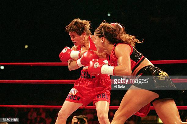 Cora Webber receives a punch during a bout against Melissa Salamone at Madison Square Garden on February 20 1999 in New York New York