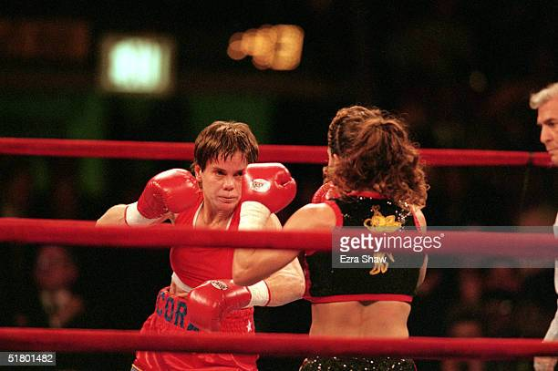 Cora Webber throws a punch during a bout against Melissa Salamone at Madison Square Garden on February 20 1999 in New York New York