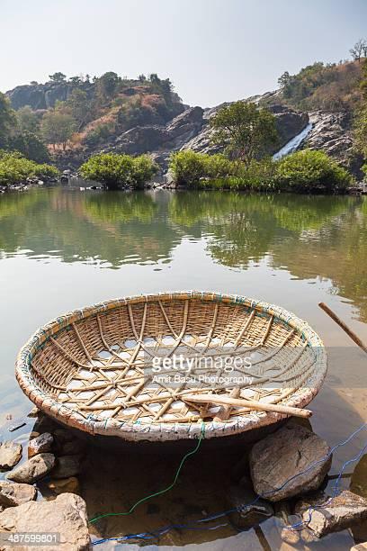 Coracle at Kaveri river. Karnataka, India