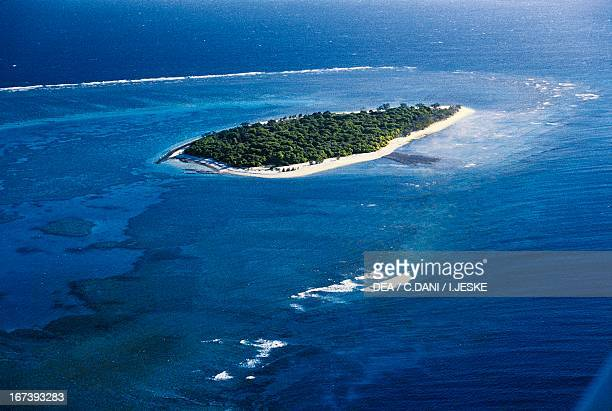 Coral atoll Great Barrier Reef Queensland Australia Aerial view