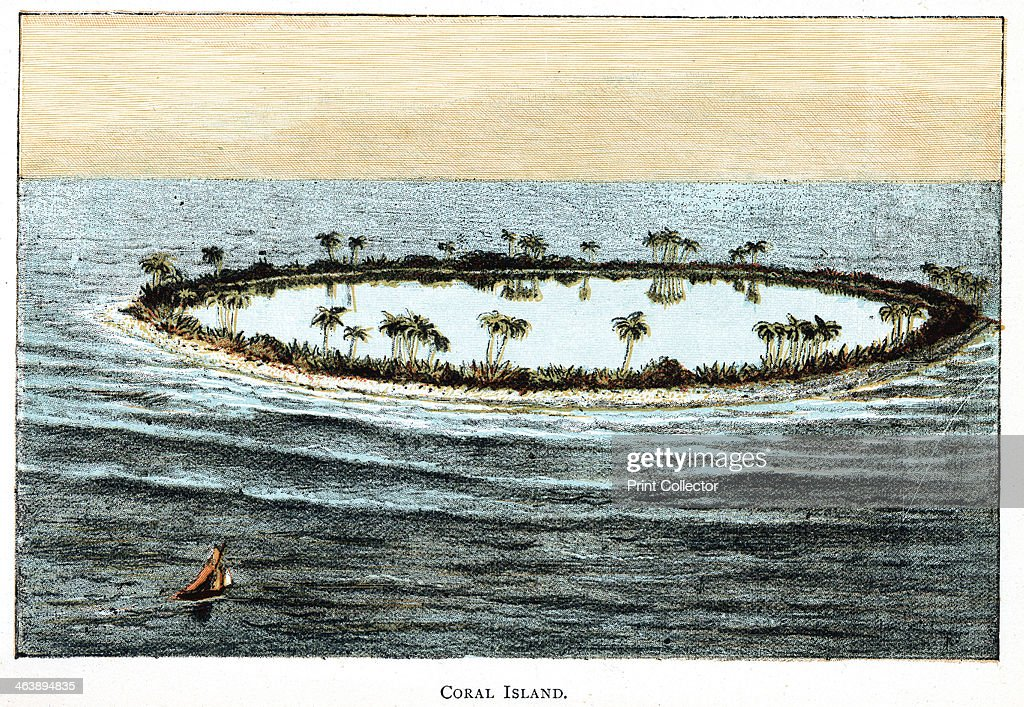 Coral reef surrounding a lagoon Slow accumulation of substance from generations of corals was a phenomenon which Darwin used to support they theory...