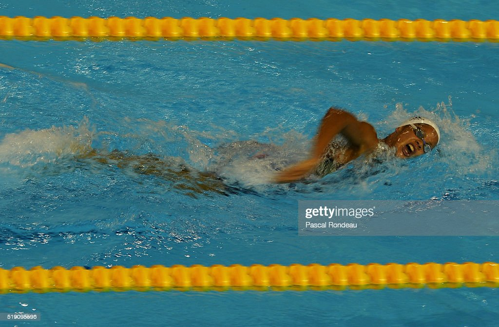 Coralie Balmy competing in the 800M Freestyle during the French Swimming Championships on April 2 2016 in Montpellier France