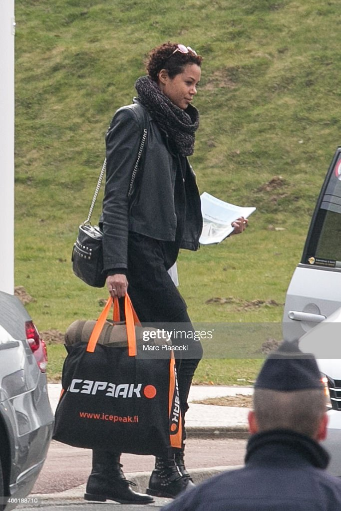 Coralie Balmy leaves the Honours Pavilion at CharlesdeGaulle airport on March 14 2015 French sports stars and crew from the illfated reality TV...
