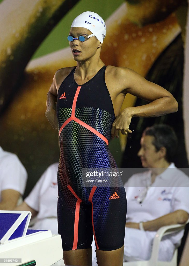 Coralie Balmy of France competes in the women's 200m freestyle final during day 4 of the French National Swimming Championships at Piscine Olympique...