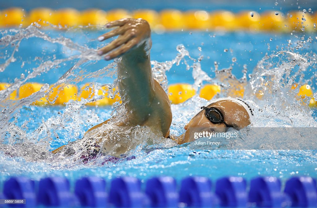 Coralie Balmy of France competes in the Women's 400m Freestyle heat on Day 2 of the Rio 2016 Olympic Games at the Olympic Aquatics Stadium on August...