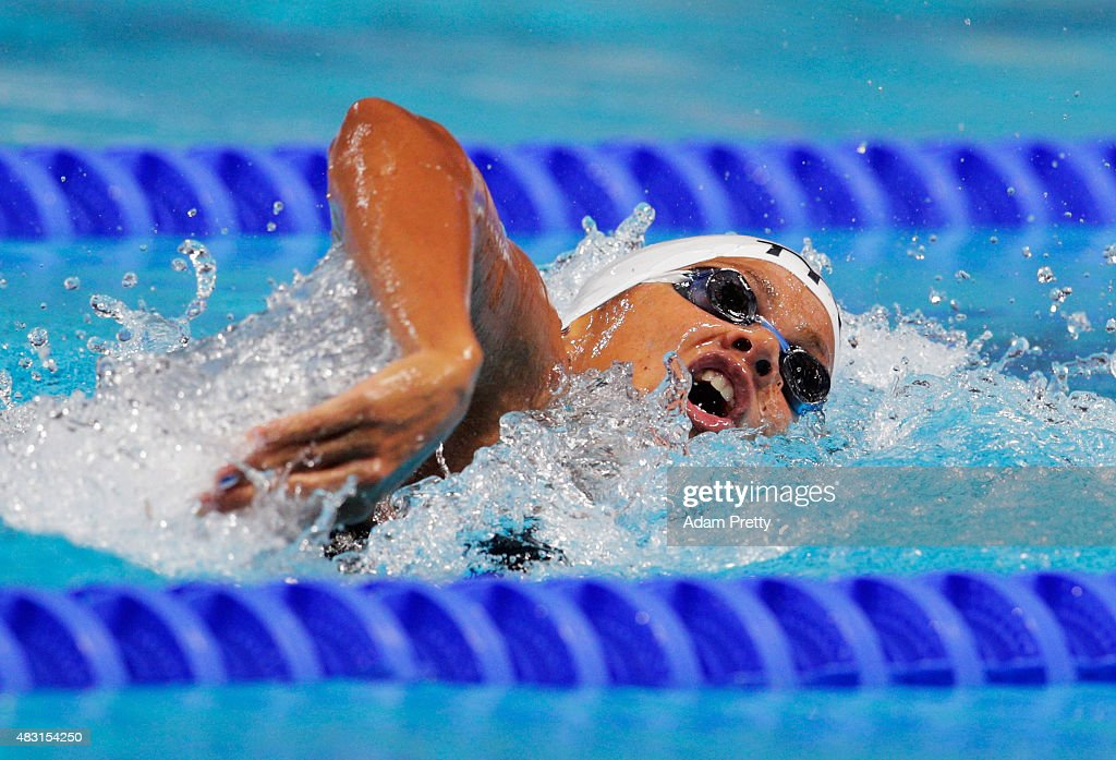 Coralie Balmy of France competes in the Women's 4x200m Freestyle Relay final on day thirteen of the 16th FINA World Championships at the Kazan Arena...