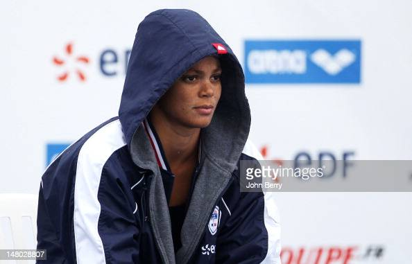 Coralie Balmy of France prepares to compete in the women's 400m freestyle final at the 2012 Open EDF de Natation an international swimming meeting in...