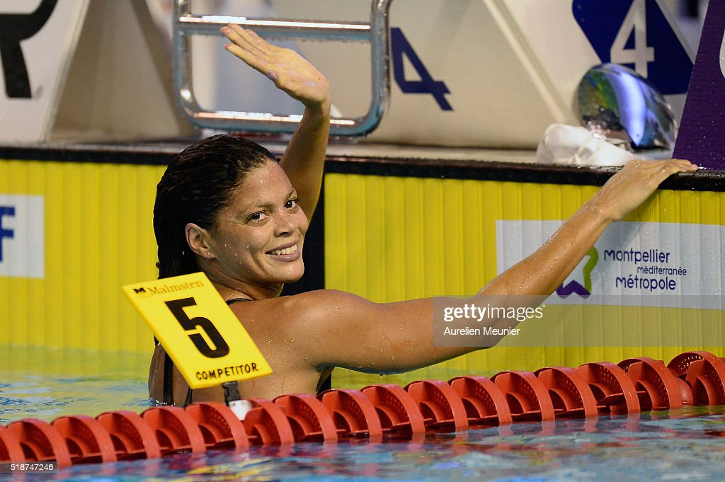 Coralie Balmy of France reacts after winning the 800m Women's freestyle final on day five of the French National Swimming Championships on April 02...