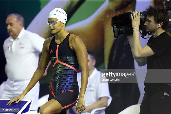 Coralie Balmy of France wins the women's 800m freestyle final during day 5 of the French National Swimming Championships at Piscine Olympique...