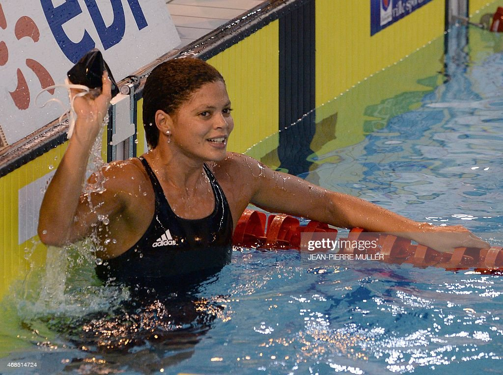 Coralie Balmy reacts after winning the final women's 800 m freestyle event the French swimming championship on April 3 2015 in Limoges central France...