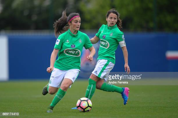 Coralie Digonnet of Saint Etienne and Maeva Clemaron of Saint Etienne during the women's National Cup match between Paris Saint Germain PSG and AS...