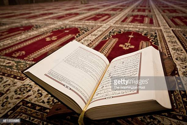 Coran in Arabic and French inside the Annasr Mosque on January 13 2014 in Vilvoorde Belgium