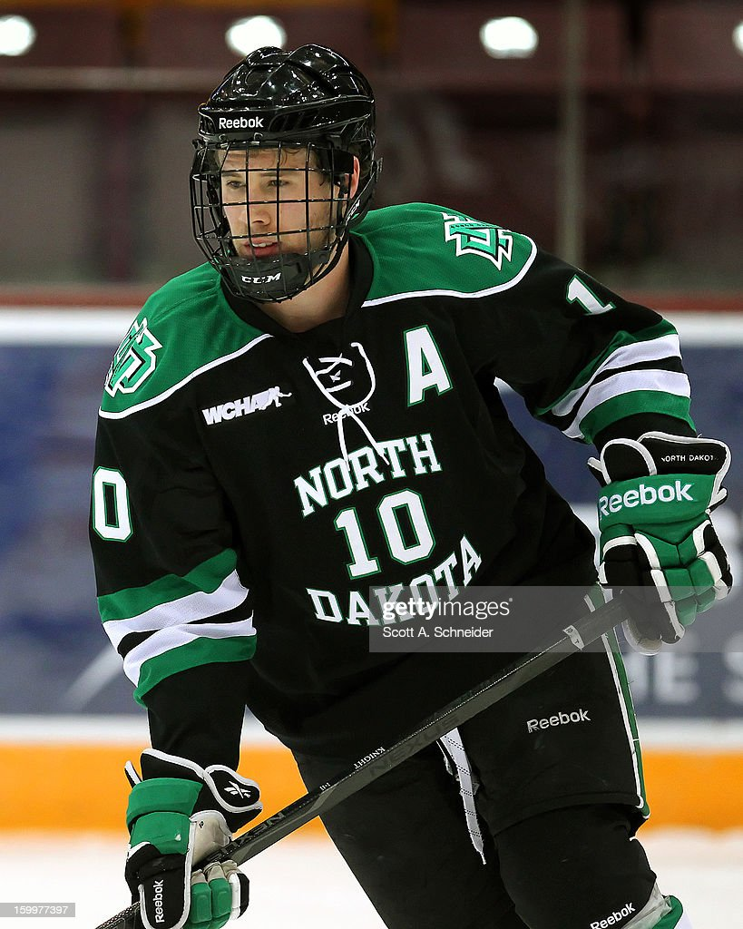 Corban Knight #10 of North Dakota warms up before a game with Minnesota January 19, 2013 at Mariucci Arena in Minneapolis, Minnesota.