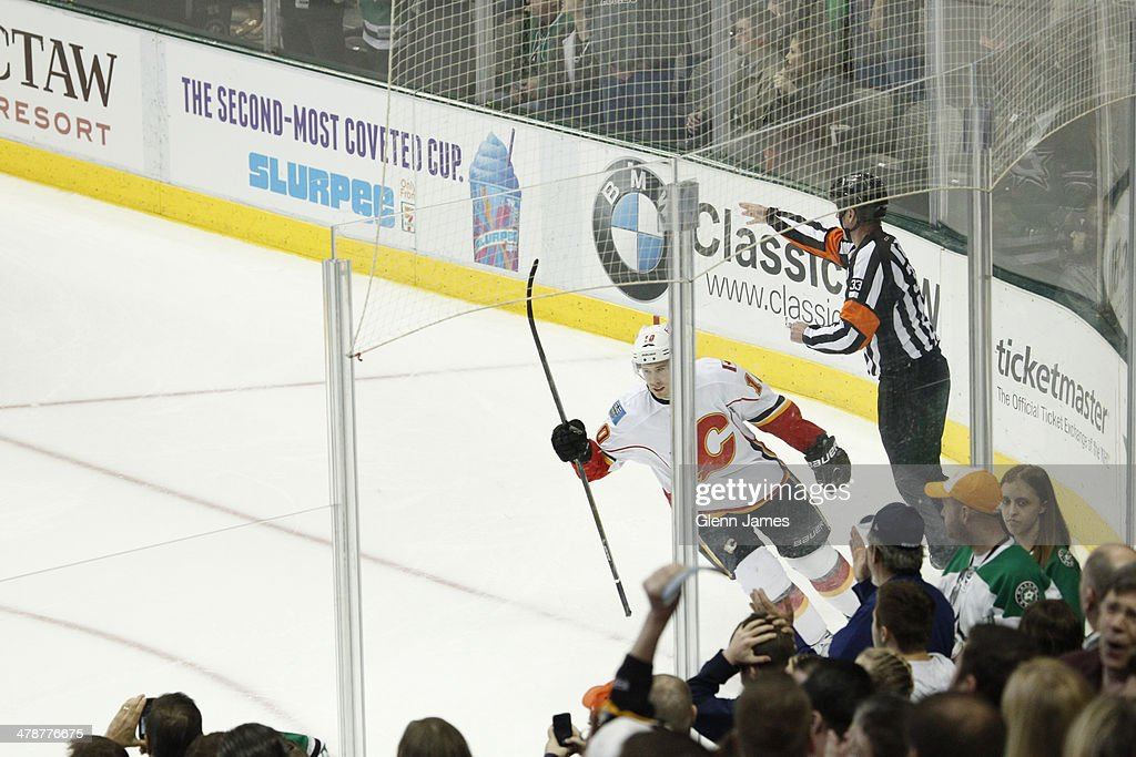 <a gi-track='captionPersonalityLinkClicked' href=/galleries/search?phrase=Corban+Knight&family=editorial&specificpeople=5944763 ng-click='$event.stopPropagation()'>Corban Knight</a> #10 of the Calgary Flames celebrates his game winning shootout goal against the Dallas Stars at the American Airlines Center on March 14, 2014 in Dallas, Texas.