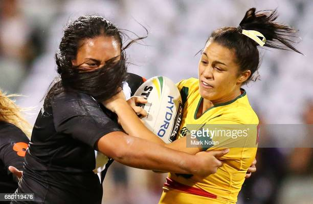 Corban McGregor of the Jillaroos is tackled during the women's ANZAC Test match between the Australian Jillaroos and the New Zealand Kiwi Ferns at...