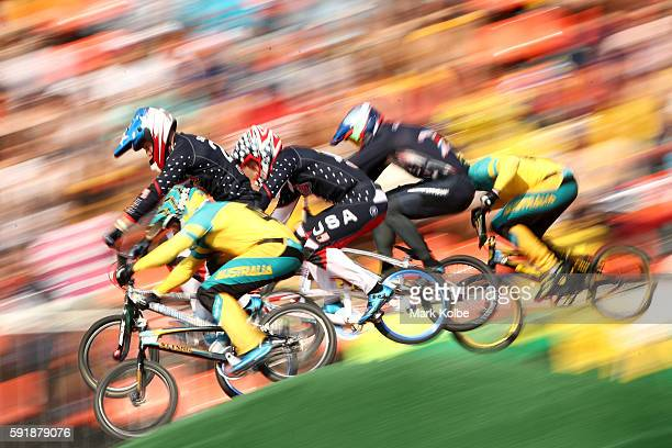 Corben Sharrah of the United States and Anthony Dean of Australia compete in the Cycling BMX Men's Quarterfinals on Day 13 of the 2016 Rio Olympic...