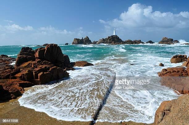 Corbiere Lighthouse, Jersey as seen from the rocky shore