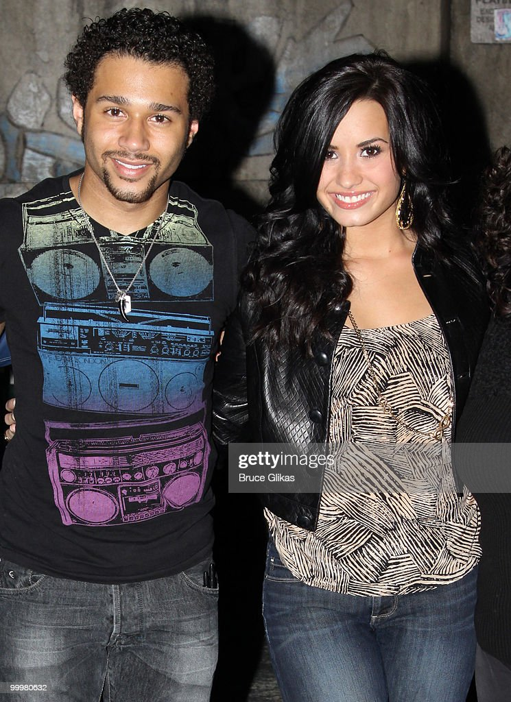Corbin Bleu and Demi Lovato pose backstage after a performance of 'In The Heights' on Broadway at Richard Rodgers Theatre on May 18 2010 in New York...