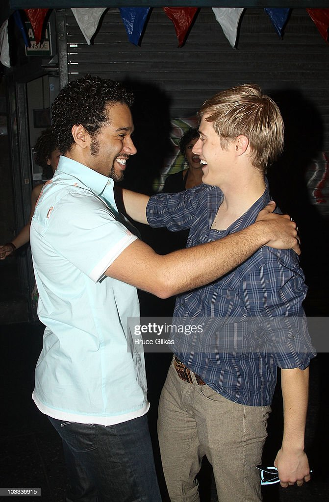 Corbin Bleu and Lucas Grabeel backstage at 'In The Heights' on Broadway at the Richard Rodgers Theatre on August 10 2010 in New York City