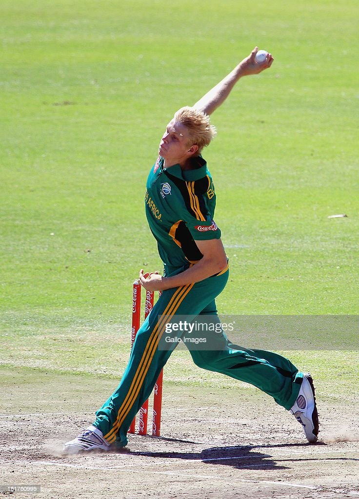 Corbin Bosch of South Africa during the 2nd U/19 Youth One Day International match between South Africa and England at Bellville Cricket Club on February 15, 2013 in Cape Town, South Africa.