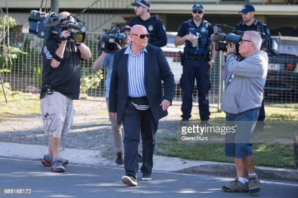 Corby bodyguard John McCleod speak to police at the house of Schappelle Corby's mother in Loganlea on May 28 2017 in Brisbane Australia Schapelle...