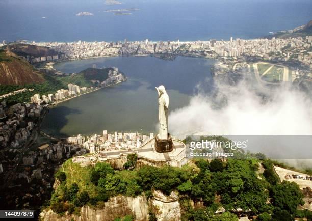 Corcovado Christ Statue Aerial Of Rio De Janeiro Brazil