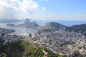 View of Urca and the coastline from Corcovado in Rio de Janeiro, Brazil, including Sugarloaf Mountain
