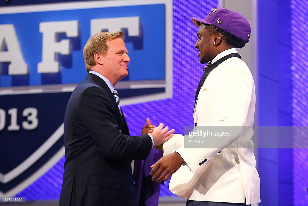 Cordarelle Patterson (L) of the Tennessee Volunteers greets NFL Commissioner Roger Goodell after Patterson was selected #29 overall by the Minnesota Vikings in the first round of the 2013 NFL Draft at Radio City Music Hall on April 25, 2013 in New York City.