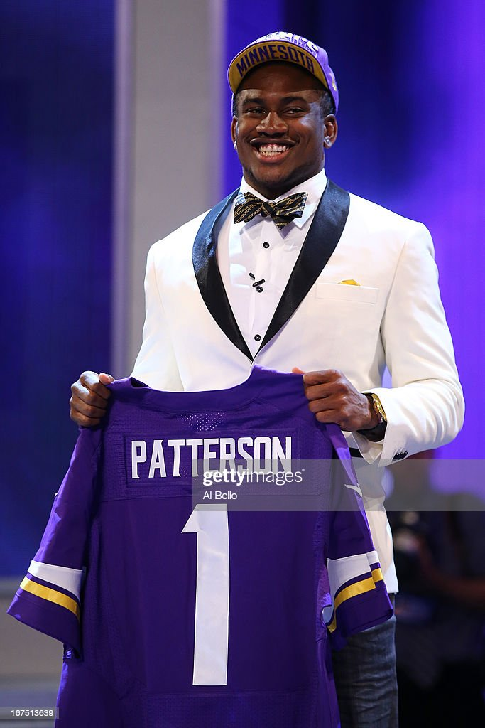 Cordarelle Patterson of the Tennessee Volunteers holds up a jersey after he was selected #29 overall by the Minnesota Vikings in the first round of the 2013 NFL Draft at Radio City Music Hall on April 25, 2013 in New York City.