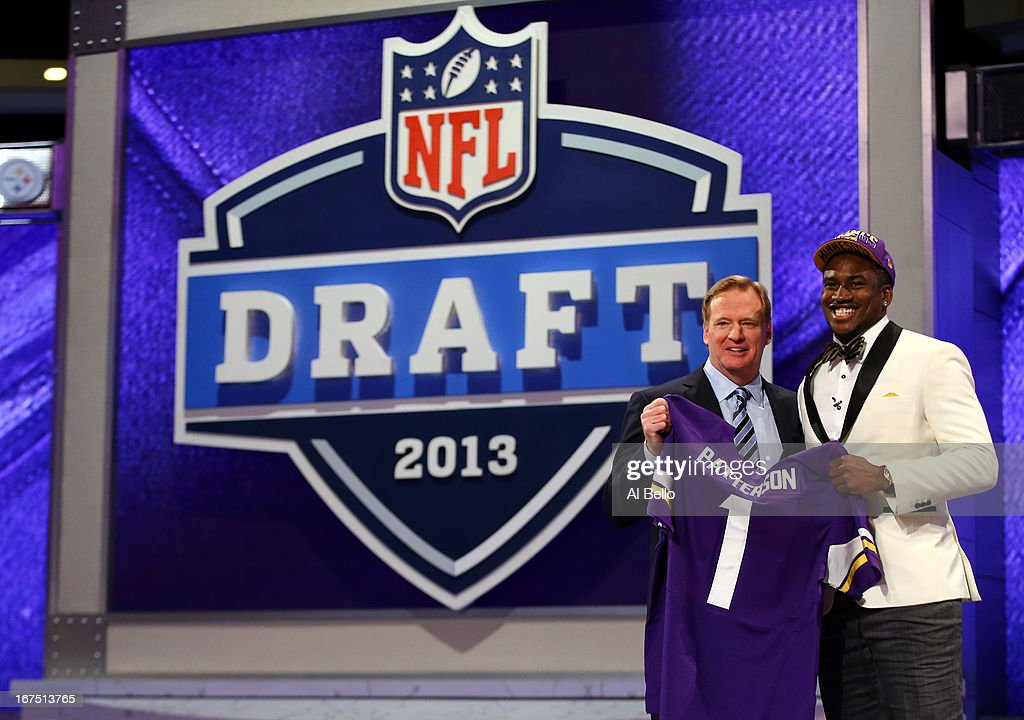 Cordarelle Patterson (L) of the Tennessee Volunteers stands with NFL Commissioner <a gi-track='captionPersonalityLinkClicked' href=/galleries/search?phrase=Roger+Goodell&family=editorial&specificpeople=744758 ng-click='$event.stopPropagation()'>Roger Goodell</a> as they hold up a jersey after Patterson was selected #29 overall by the Minnesota Vikings in the first round of the 2013 NFL Draft at Radio City Music Hall on April 25, 2013 in New York City.