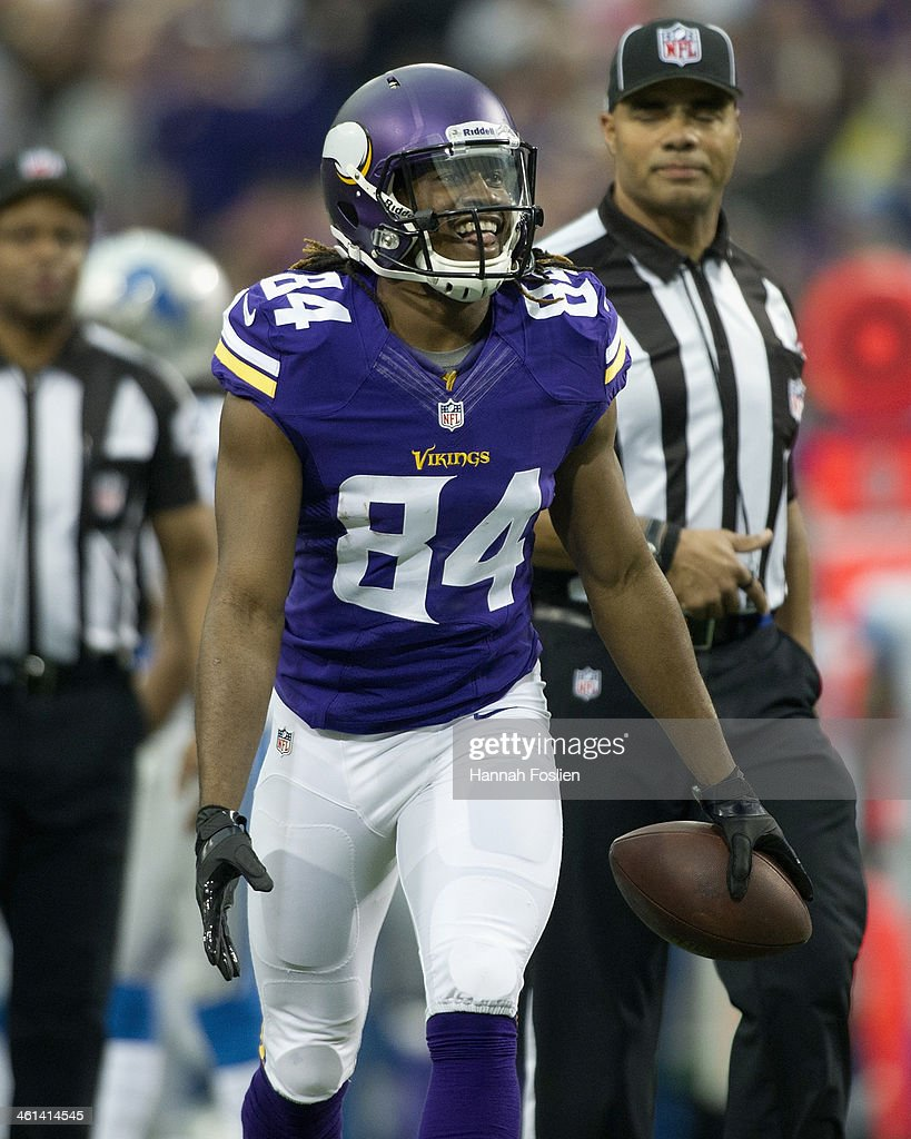 Cordarrelle Patterson #84 of the Minnesota Vikings celebrates a touchdown during the game against the Detroit Lions on December 29, 2013 at Mall of America Field at the Hubert H. Humphrey Metrodome in Minneapolis, Minnesota.
