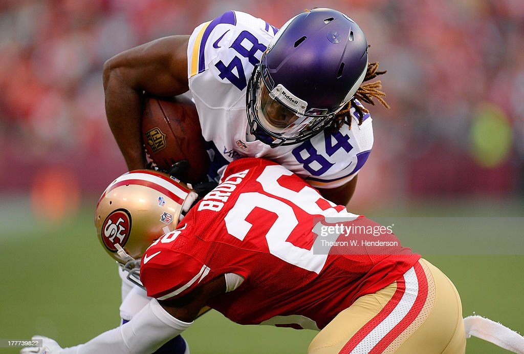<a gi-track='captionPersonalityLinkClicked' href=/galleries/search?phrase=Cordarrelle+Patterson&family=editorial&specificpeople=9687572 ng-click='$event.stopPropagation()'>Cordarrelle Patterson</a> #84 of the Minnesota Vikings gets knocked out of bounds at the three yard line by <a gi-track='captionPersonalityLinkClicked' href=/galleries/search?phrase=Tramaine+Brock&family=editorial&specificpeople=5543329 ng-click='$event.stopPropagation()'>Tramaine Brock</a> #26 of the San Francisco 49ers after Patterson gained six yards on a pass play in the third quarter at Candlestick Park on August 25, 2013 in San Francisco, California. The 49ers won the game 34-14.