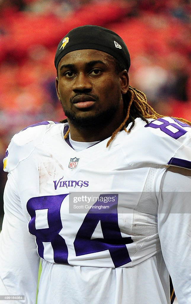 Cordarrelle Patterson #84 of the Minnesota Vikings stands on the field during warm ups prior to the game against the Atlanta Falcons at the Georgia Dome on November 29, 2015 in Atlanta, Georgia.