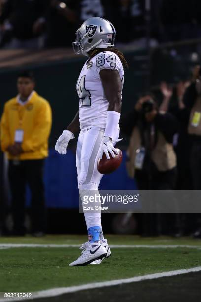 Cordarrelle Patterson of the Oakland Raiders downs the ball on the oneyard line after a punt by Marquette King against the Kansas City Chiefs during...
